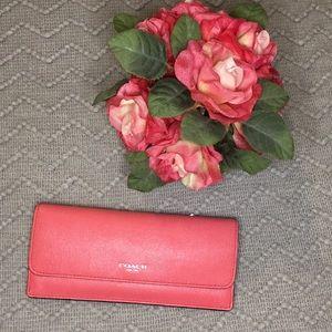 COACH Slim Profile Saffiano Leather Wallet - Coral